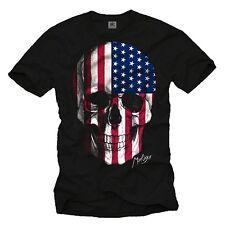 USA Skull Herren T-Shirt mit Amerika Flagge - Männer US Biker Totenkopf Shirt