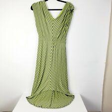 Mossimo Womens High Low Green Gray Stripe Midi Dress Summer Dress Cinch Waist Sm