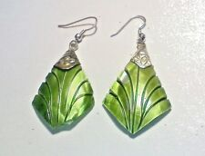 EARRINGS HAND CRAFTED SILVER AND SHELLS, PRETTY SEA GREEN TRIANGLES DANGLE STYLE