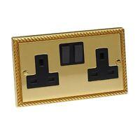 Double Plug Wall Socket Georgian Brass Rope 2 Gang 13 Amp Polished Mirror Brass
