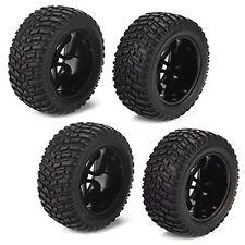 4x RC 1:10 Off Road Car Buggy 12mm Hex Plastic 16 Spoke Wheel Rim & Rubber Tires