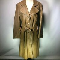Vintage Dan Di Modes Tan Long Leather Coat Trench Lined Button Size S/M