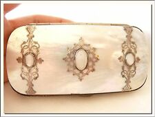 ANTIQUE 1890's VICTORIAN FRENCH PURSE CARVED MOTHER OF PEARL CARD HOLDER !