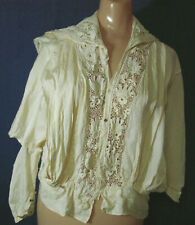 New listing Vtg Edwardian Bodice Top Blouse Tlc Silk Lace Insets Collar Antique L Ivory