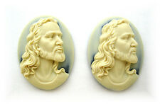 """2 Christian Religious Easter """"JESUS CHRIST"""" 40mm x 30mm Costume Jewelry CAMEOS"""