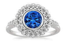 1.55 Ct Round Blue Sapphire Engagement Ring 14K White Gold Diamond Rings Size L