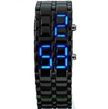 Dhnewsun Metallic Black Lava Faceless Blue LED Volcanic Men Lady Bracelet Wrist