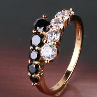 Fashionable gift 18K gold filled white&black sapphire Promise band ring SzJ-SzR