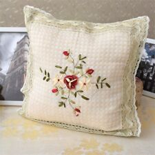 Pretty 3D Hand Silk Ribbon Flower Embroidery Crochet Lace Beige Cushion Cover B