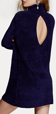 Free People New Moon Cowl Neck Sweater Dress Women's Chenille Tunic Navy Small