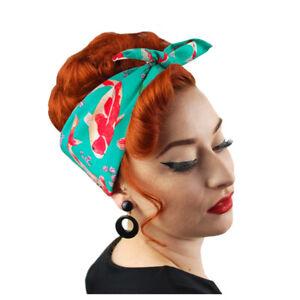 Koi Carp Bandana, Retro Head Scarf, Pin-up Style Rockabilly Headscarf