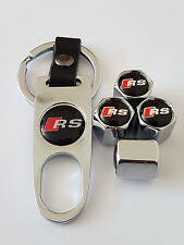 AUDI RS CHROME DUST VALVE CAPS AND SPANNER LIMITED ALL MODELS BOXED