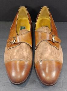 COLE HAAN BROWN LEATHER & PERFORATED SUEDE MONK STRAP MEN'S LOAFERS (SZ 13)