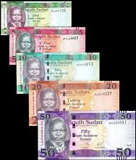 South Sudan 2011-2017, 1/ 5/ 10/ 20 / 50 Pounds, Banknotes set of 5 UNC