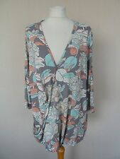 M&S Grey Blue White Coral Floral Print Fixed Wrap Jersey Top Plus Size 20 BNWT