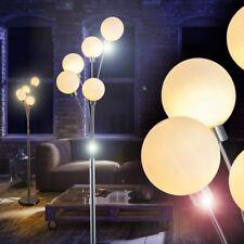 Lámpara de pie elegante metal níquel satinado pantalla cristal para hogar 142091