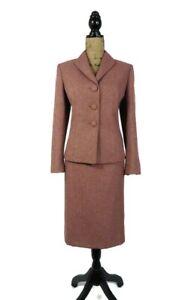 Le Suit Women's Suit Skirt 12P Salmon Pink Herringbone Long Sleeve 2 Piece Work