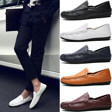 Men Casual Moccasin PU Leather Slip On Suede Pea Shoes Driving Flat Loafers Size