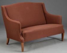 Vintage retro mid century 60s 70s Danish 2 seat sofa couch brown