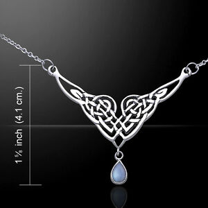 Celtic Knot Necklace .925 Sterling Silver Gemstone Peter Stone Beautiful Jewelry