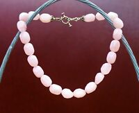 """Large chunky 17x12mm  Rose Quartz bead silver tone 17"""" long NECKLACE"""