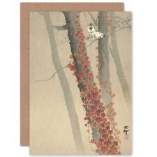 Ohara Koson Red Ivy Japanese Painting Fine Art Blank Greeting Card