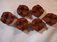 LEGO NEW 2 x 2 REDDISH BROWN ROUND PLATE WITH AXLE HOLE x 6 PART 4032
