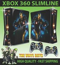 XBOX 360 SLIM IRON MAN GOLD SUIT STICKER SKIN & 2 PAD SKINS