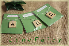 Handcrafted Wooden Scrabble Tile Necklace in Packet * Choose your Letter * 18""