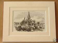 ST. NICHOLAS CHURCH GREAT YARMOUTH RARE ANTIQUE DOUBLE MOUNTED ENGRAVING c1890