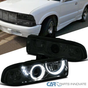 For 98-04 Chevy S10 Blazer Pickup Smoke SMD LED Halo Projector Headlights Pair
