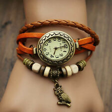 Women's Watch Bohemian Owl Pendant Leather Band Bracelet Cool Watches Wristwatch