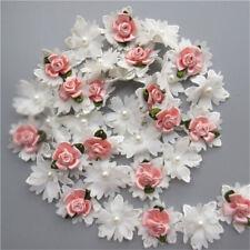 10X Flower Pearl Chiffon Lace Edge Trim Ribbon Wedding Applique Sewing Craft DIY