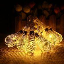 Battery Operated 10.5ft 30 LED Curtain Light Golden Mesh Teardrop String Lights