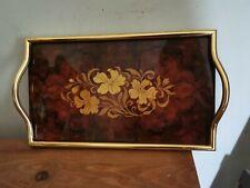 Vintage Retro Italian Sorrento Inlaid  Floral Marquetry Tray. Original Stickers