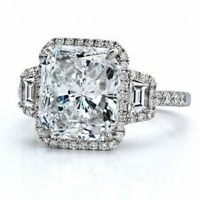 GIA 2.50 tcw Halo Three Stone Radiant Diamond Amazing Engagement Ring 18k Gold