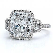 GIA 2.50 tcw Halo Three Stone Radiant Diamond Amazing Engagement Ring 18k Gold