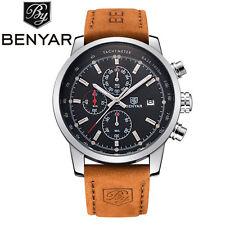 BENYAR Mens Date Military Genuine Leather Band 3 ATM Pilot Quartz Wrist Watch