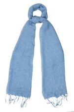 Baby Blue Silk & Cotton Speckled Sciarpa-FAIR TRADE nuova con etichetta 180 CM x 80 cm