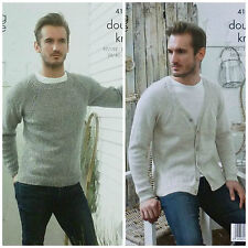 KNITTING PATTERN Mens Long Raglan Sleeve Jumper & Cardigan DK King Cole 4131