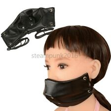 Faux Leather Face Mask Hood Mouth Gag Harness Restraint Oral plug Couple Game