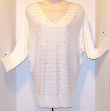 New $54Tag ELLE XS Marshmallow Creamy White V Neck SWEATER ¾ Sleeves PINK ACCENT