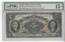 *1929* Bank of Nova Scotia $5 Note Moo/Mcl Cat#34-02 SN# 2899585 PMG F-15