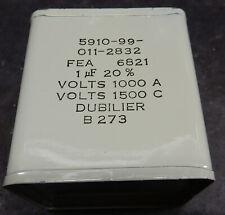 VINTAGE DUBILIER PAPER OIL CAPACITOR.1uF1500V. +/-20%. TESTED