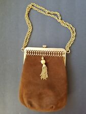 Vintage Triangle New York Caramel Suede Evening Bag Ceased in 1950' or 1960's