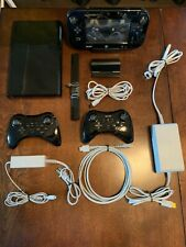 Nintendo Wii U Console Bundle 32 GB Gloss Black 2 Pro Controllers + Games