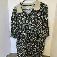 Warner Bros. Taz Tasmanian Devil Hawaiian Floral Polo Shirt XL Looney Tunes