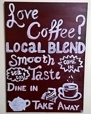 Original hand painted coffee cafe painting freshly ground restaurant sign board