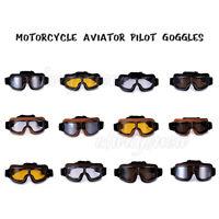 Aviator Pilot Leather Vintage Motorcycle Motorbike Goggles Glasses Eyewear