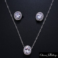 18K White Gold Cubic Zirconia Oval Necklace & Earrings Wedding Jewellery Set